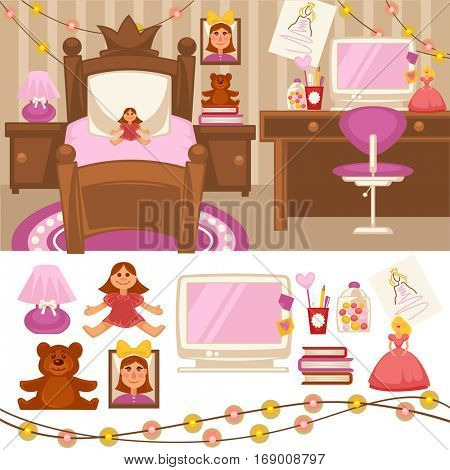 Girls room bedroom Set of furniture for girls. Design of bedroom. Pink color room lamp, mirror and bed. Nursery interior. Cartoon style. Vector isolated
