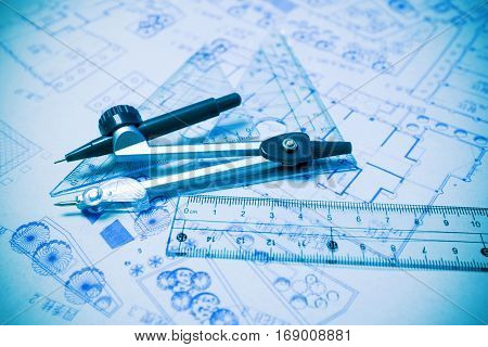 Construction planning and drawing tools background (blueprint)