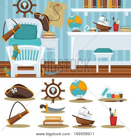 Boys room bedroom Child interior for boy. furniture and toys. Playroom for kid in flat style. Vector illustration