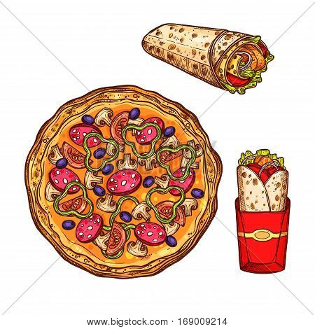 Fast food sketch icons. Vector isolated pizza margherita or capricciosa with salami pepperoni, olives and champignons, mexican meaty burrito tortilla wrap and doner kebab or gyros for fastfood restaurant delivery or takeaway design