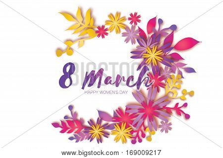 8 March. Happy Mother's Day. Colorful Paper cut Wreath Floral Greeting card. Origami flower holiday. Space for text. Happy Women's Day. Trendy Design Template. Vector illustration
