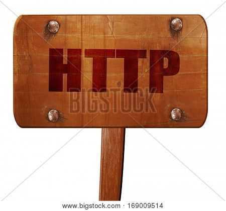 http, 3D rendering, text on wooden sign