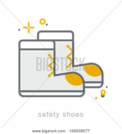 Thin line icons Linear symbols Safety shoes