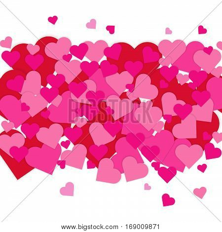 Valentine's Day card with pink and red hearts on white background