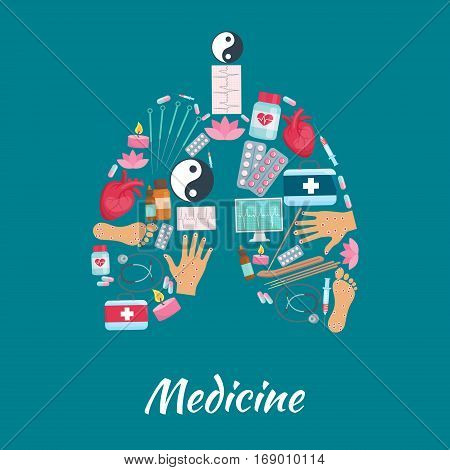 Human lugs organ symbol of acupuncture oriental alternative and traditional Chinese health needle medicine, Yin Yang and lotus, aromatherapy candle sticks, healthy points on human heart, hand and foot, stethoscope and cardiogram. Vector poster