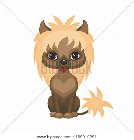 Chinese crested dog. Vector image of a cute purebred dogs in cartoon style.