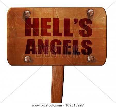 hell's angels, 3D rendering, text on wooden sign