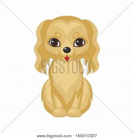 Spaniel. Vector image of a cute purebred dogs in cartoon style.