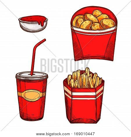 Fast food snacks and drinks. Vector isolated sketch icons of crispy chicken nuggets, fried french fries in red paper box and soda drink in cup with drinking straw and ketchup sauce in bowl. Design for fastfood restaurant takeaway or delivery