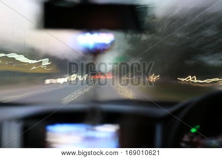 Night Road View From Inside Car Natural Light Street And Other Cars Is Motion Blurred, Blur Image Fr