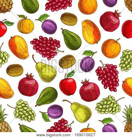 Summer harvest fruits seamless pattern. Vector decoration background element with garden and farm ripe fruit pattern of plum, mango, orange, pomegranate, kiwi, pear, apple, green and red grape bunches