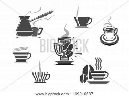 Coffee icons of vector isolated coffee cup and coffee makers turkish cezve and fench press. Hot espresso and creamy latte glass drinks, roasted coffee beans, coffee mill or grinder for cappuccino or moka. Vector emblems for cafe, cafeteria