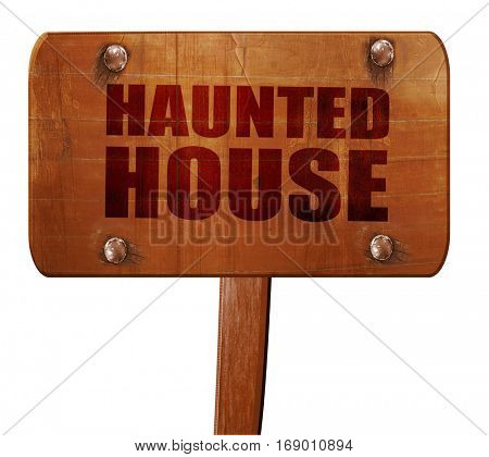 haunted house, 3D rendering, text on wooden sign