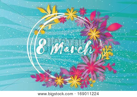 8 March. Happy Mother's Day. Colorful Paper cut Wreath Floral Greeting card. Origami flower holiday. Circle Frame, space for text. Happy Women's Day. Trendy Design Template. Vector illustration