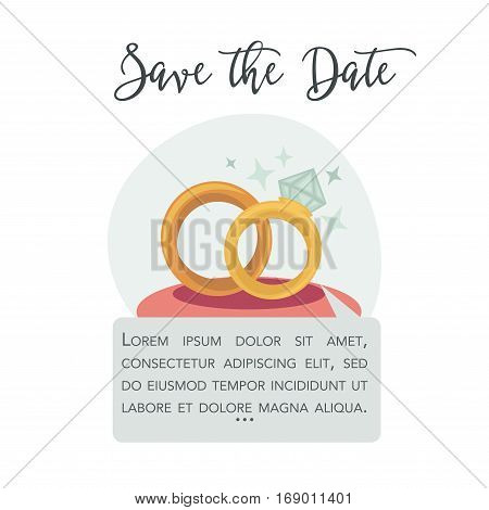 Save the date vector invitation or greeting card template with wedding gold rings and wishes. Vector illustration for engagement announcement or marriage proposal and bridal event
