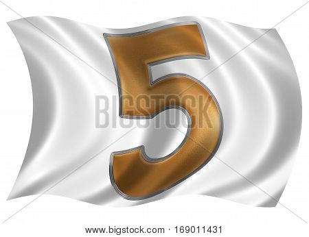 In The Wind Fluttering The Flag With Numeral 5, Five, Isolated On White Background, 3D Render