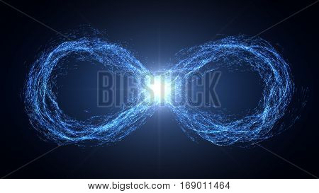endless loop of moving energy particles. infinity symbol with energy trails. blue version.