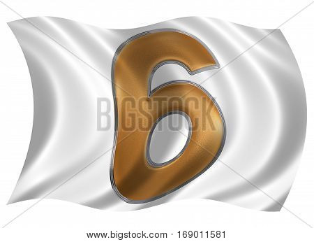 In The Wind Fluttering The Flag With Numeral 6, Six, Isolated On White Background, 3D Render