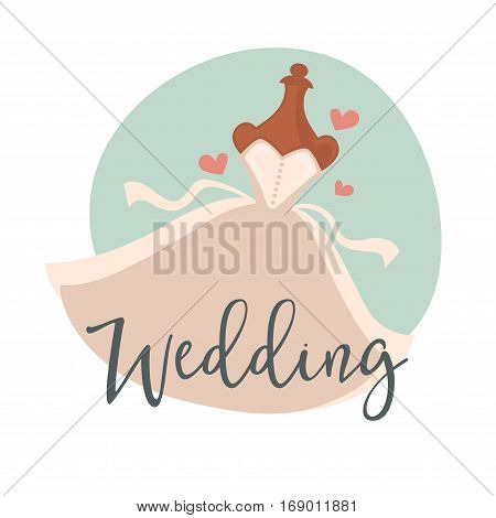 Wedding dress of bride or newlywed on dummy mannequin for bridal ceremony. Vector illustration template for marriage greeting card template