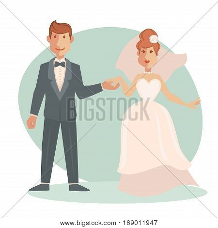 Bride and groom in wedding dress on bridal ceremony holding hands. Happy newlyweds or just married couple of man and woman in love. Vector illustration