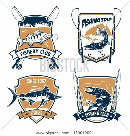 Fishing icons set. Fisherman trip club or fishery industry vector badges or emblems with fishing rods, hook and baits, river or lake fish catch of marlin, pike, carp perch or sturgeon salmon or trout, catfish or eel