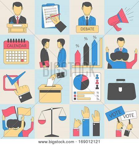 Elections or voting vector infographic icons. Ballot box and candidate vote poll bulletin list. People rise hands or flags for president. Vector flat illustration graph charts or diagrams and scales