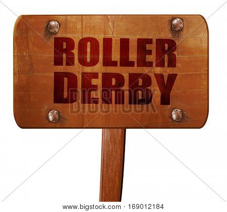 roller derby, 3D rendering, text on wooden sign