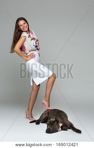 Beautiful elegant happy young woman in white dress with adult grey amstafford terrier dog wearing pink bow. Studio shot over grey background. Copy space.