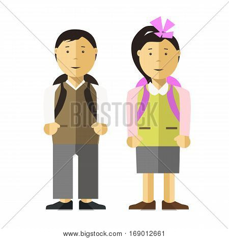 Schoolboy and school girl children flat illustration. Vector isolated characters of pupils or schoolkid boy with school backpacks. Asian or caucasian female and male young teenager persons
