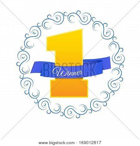 Blue Label For Winner Vector Illustration Eps 10 On White Bg