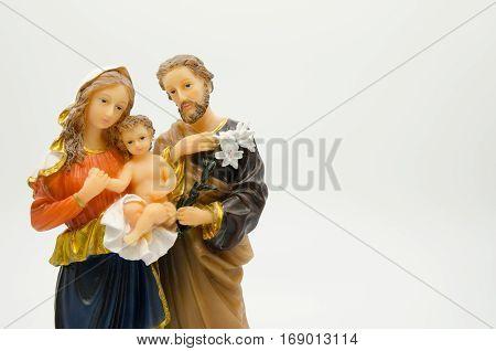 Closeup holy family isolated on white background