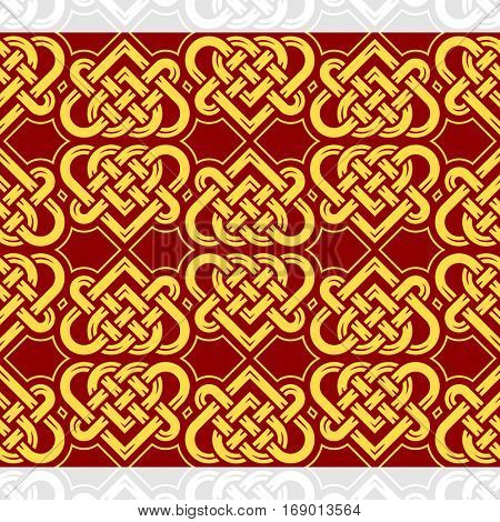 Celtic heart shape vector seamless pattern. Endless texture in red and golden color. Valentines day background for invitation, scrapbooking, cards, posters