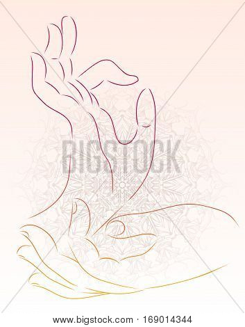 Vector illustration of a hand of a Buddha with a mandala pattern. Vector element for your creativity