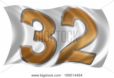 In The Wind Fluttering The Flag With Numeral 32, Thirty Two, Isolated On White Background, 3D Render