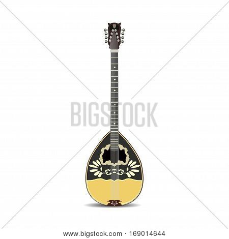 Vector illustration of bouzouki isolated on white background. Greek folk musical instrument in flat style.