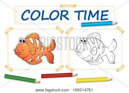 Coloring template with clownfish illustration