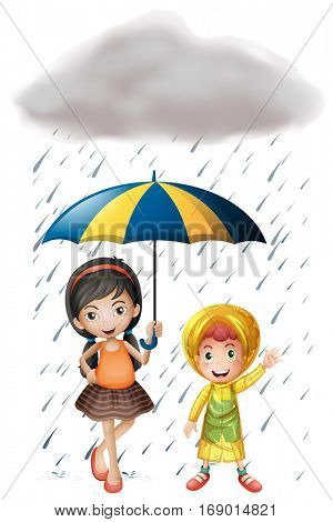 Two kids with umbrella and raincoat in the rain illustration
