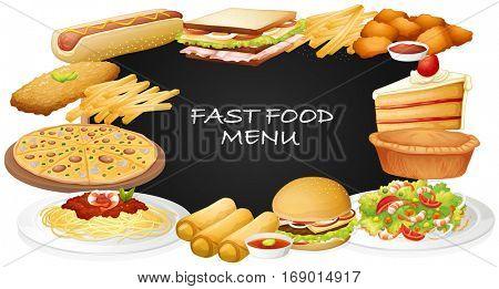 Different kinds of fastfood on menu illustration