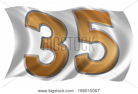 In The Wind Fluttering The Flag With Numeral 35, Thirty Five, Isolated On White Background, 3D Rende