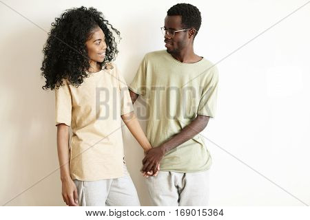 Tender And Romantic Young African Couple Enjoying Sweet And Happy Together On Saint Valentine's Day.