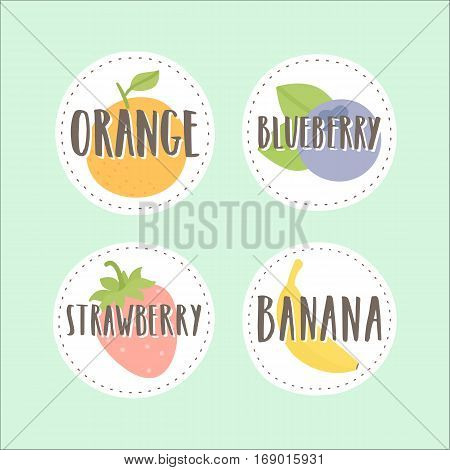 Set of fruit badges. Can be used for packaging design
