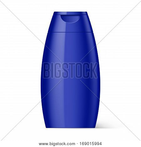 Violet Plastic Bottle Shampoo Packaging Isolated over White Background