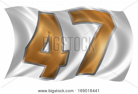 In The Wind Fluttering The Flag With Numeral 47, Forty Seven, Isolated On White Background, 3D Rende