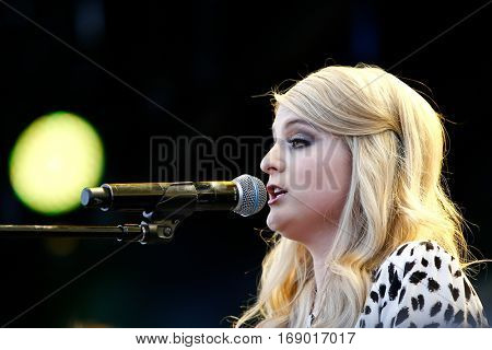 LAS VEGAS-SEP 20: Singer Meghan Trainor performs in concert at the 2014 iHeartRadio Music Festival Village Show at MGM Resorts Village on September 20, 2014 in Las Vegas, Nevada.
