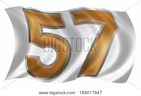 In The Wind Fluttering The Flag With Numeral 57, Fifty Seven, Isolated On White Background, 3D Rende