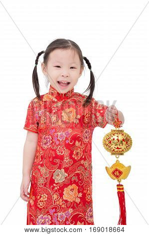 Little asian girl in traditional chinese costume over white