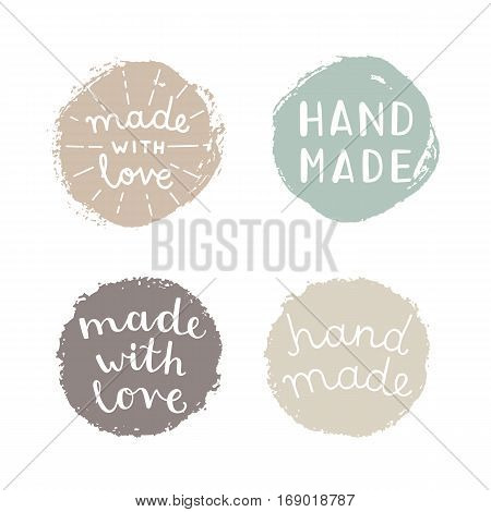 Set of hand made badges. Vector hand drawn illustration