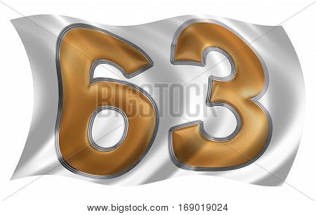 In The Wind Fluttering The Flag With Numeral 63, Sixty Three, Isolated On White Background, 3D Rende