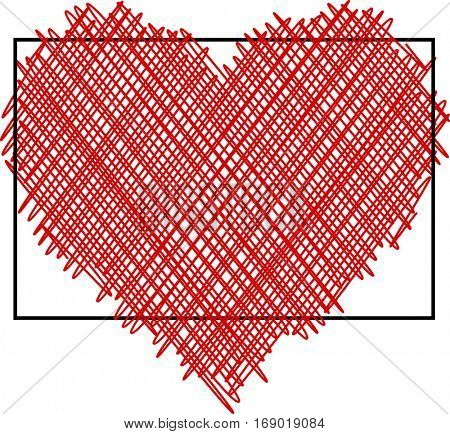 Valentine's love background with red pictured heart. Vector paper illustration.