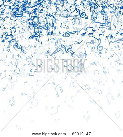 White musical background with blue notes. Vector paper illustration.